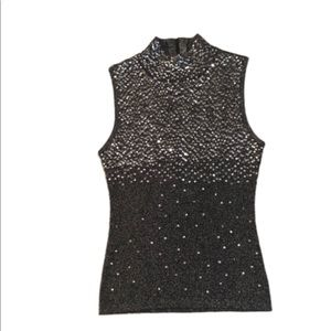 Mock Neck Stretch Sequined Sweater